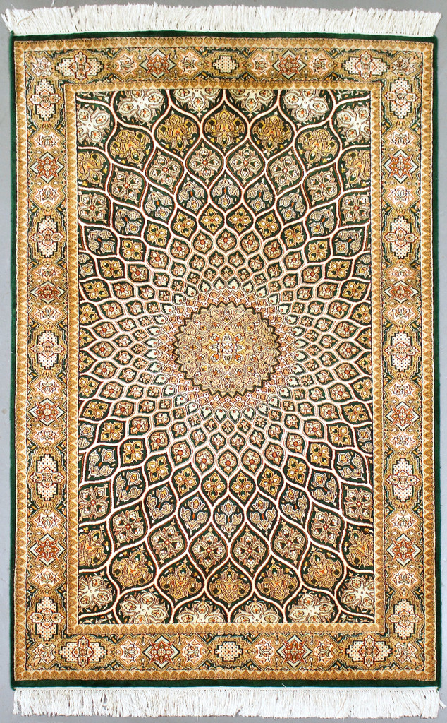Kashmir Green Pure Silk Rug (Ref 1071) 154x95cm