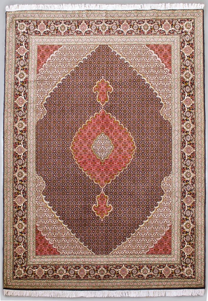 Mahi Tabriz Wool & Silk Fine 50 Raj Black Persian Rug (Ref 414) 303x202cm