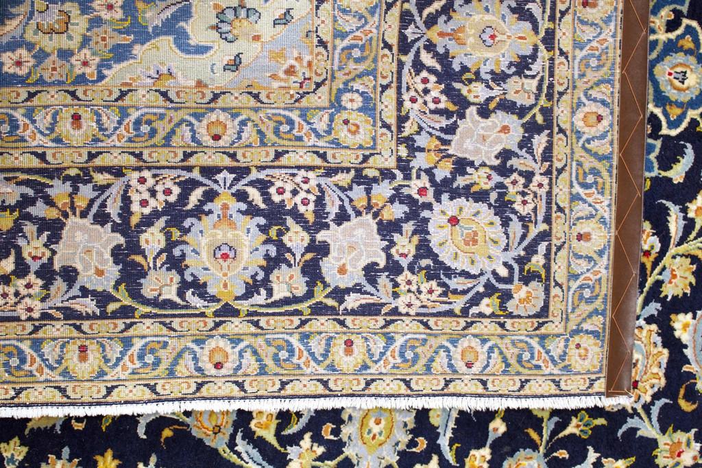 Kashan Navy Blue Persian Rug (Ref 309) 307x233cm
