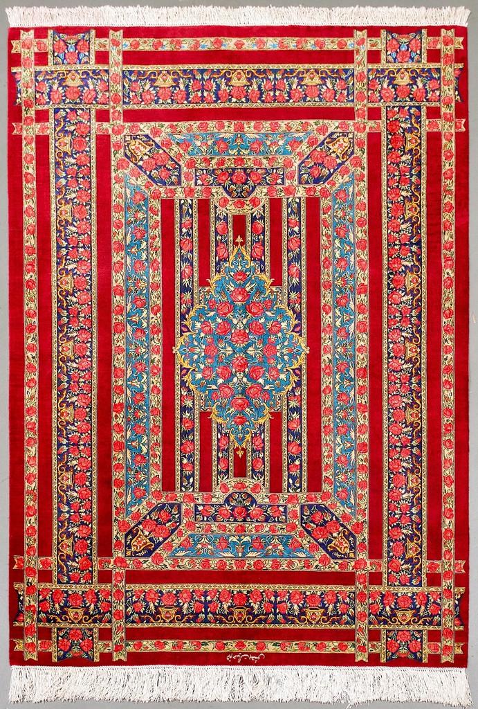 Qum Pure Silk Persian Rug (Ref 61) 155x100cm