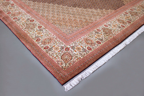 Mahi Tabriz Wool & Silk Fine 50 Raj Black Persian Rug (Ref 65) 400x300cm