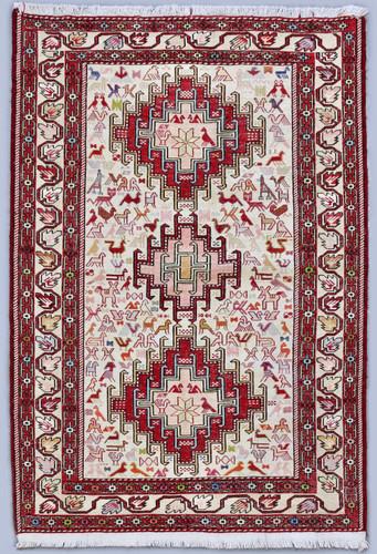 Ardabil Pure Silk Persian Soumak Kilim (Ref 101) 150x100cm