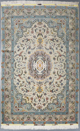Tabriz Wool & Silk Fine 50 Raj Floral Persian Rug (Ref 459) 302x197cm