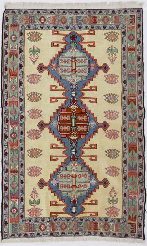 Azerbaijan Pure Silk Persian Soumak Kilim (Ref 111) 189x128cm