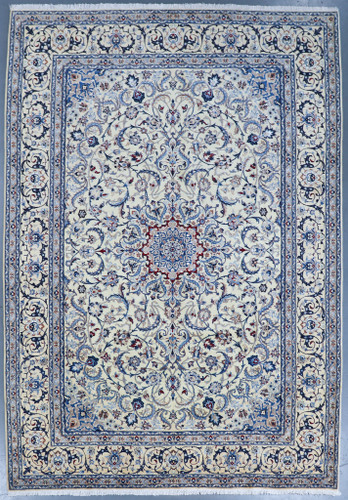 Nain Fine Wool & Silk Inlay 9la Persian Rug (Ref 17) 355x255cm