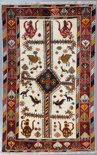 Shiraz Qashqai Vintage Pictorial Persian Rug (Ref 34) 190x120cm