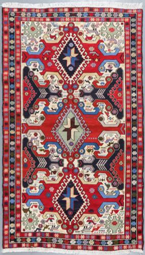 Ardabil Pure Silk Persian Soumak Kilim (Ref 347.2) 200x147cm