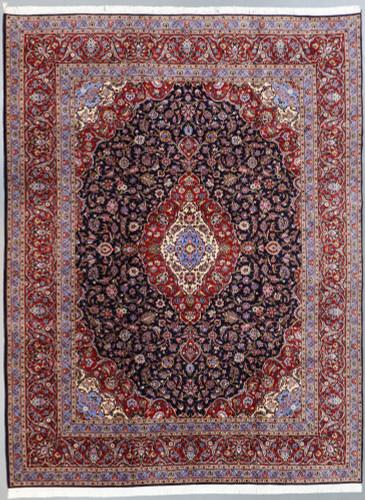 Kashan Navy Blue Lambswool Fine Persian Rug (Ref 2173) 402x300cm