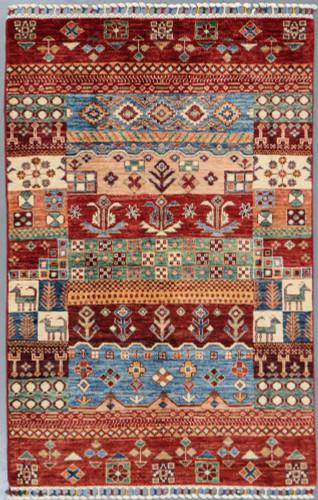 Khorjin Chobi Pictorial Fine Veg Dye Rug (Ref 108) 159x103 cm