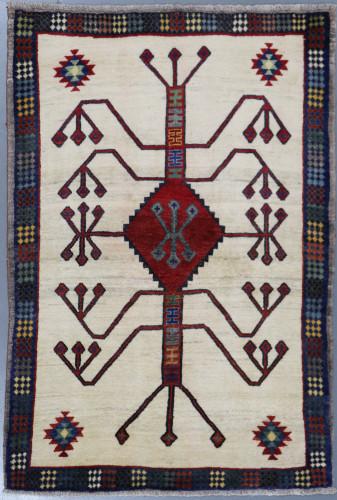 Shiraz Qashqai Vintage Pictorial Persian Rug (Ref 154) 175x120cm