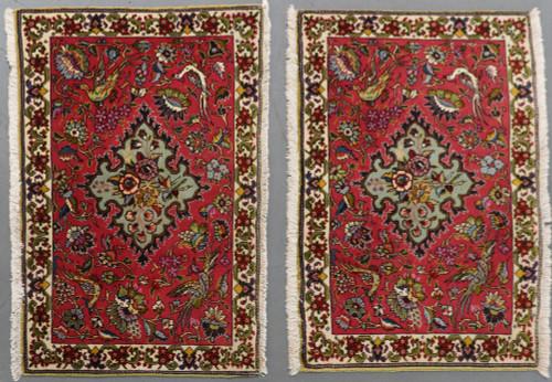 Matching Pair Kashmar Fine Vintage  Persian Rugs (Ref 16) 92x60cm