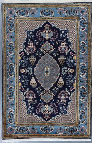 Kashan Pictorial Navy Vintage Persian Rug (Ref 267) 220x150cm