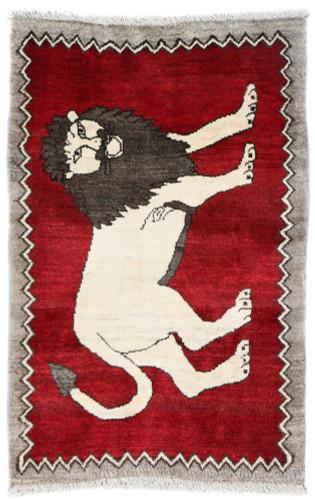 Shiraz Qashqai Pictorial Lion Persian Rug (Ref 244) 123x80cm