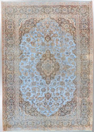 Kashan  Vintage Zero Pile Persian Rug (Ref 1070) 347x243cm