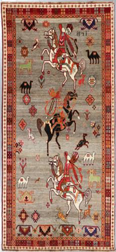 Shiraz Qashqai  Pictorial Persian Rug (Ref 348) 285x139cm
