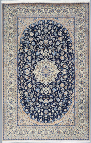 Fine Nain wool and silk vintage 6L Persian Rug (Ref 8) 280x175cm