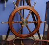 Teak Wood Boat Ships Wheel Brass Handles Hub