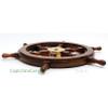Rosewood Ships Wheel Brass Hub Boat Decor
