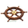 Rosewood Ships Wheel Brass Nautical Wall Decor