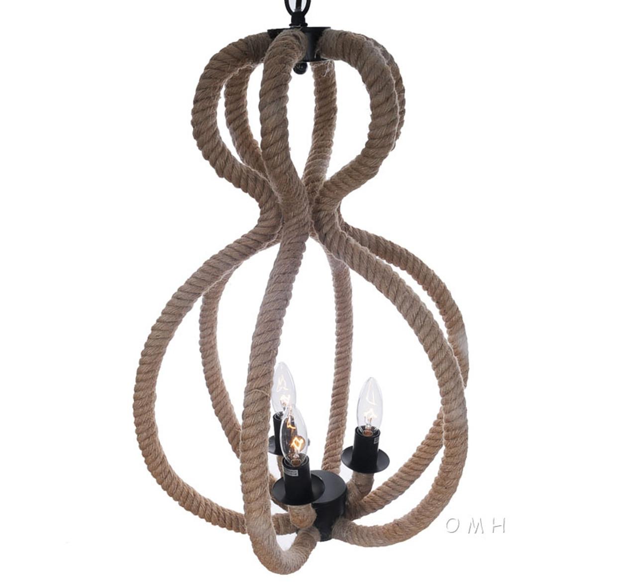 Nautical Rope Pendant Hanging Lamp Ceiling Fixture Light
