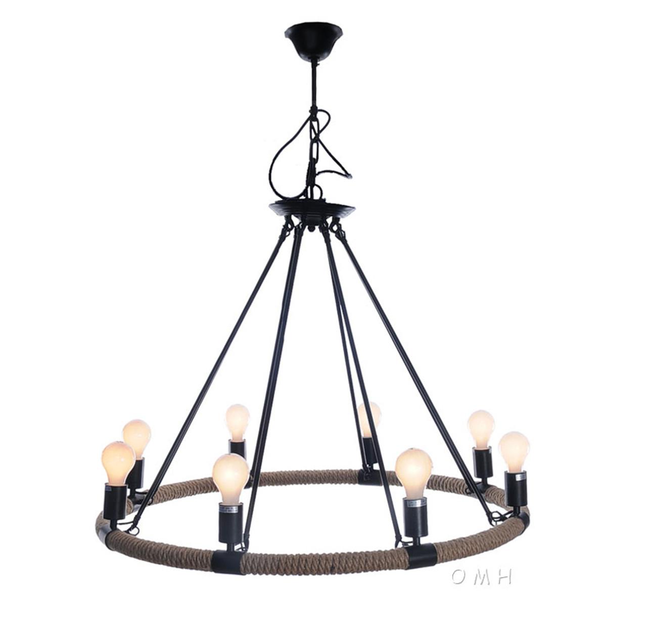 Nautical Rope Pendant Hanging Lamp Chandelier Lighting 37