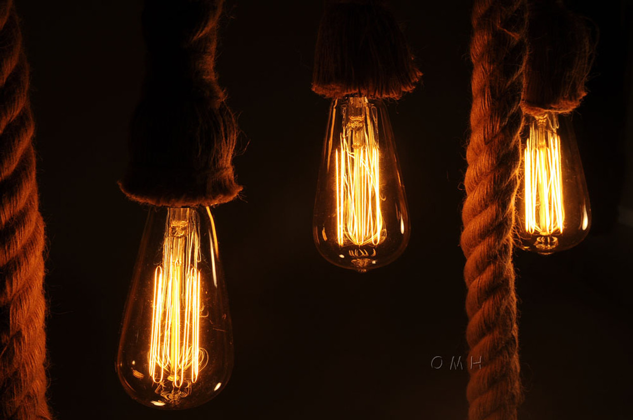 Nautical Rope Pendant Bamboo Hanging Lamp Ceiling Light 50