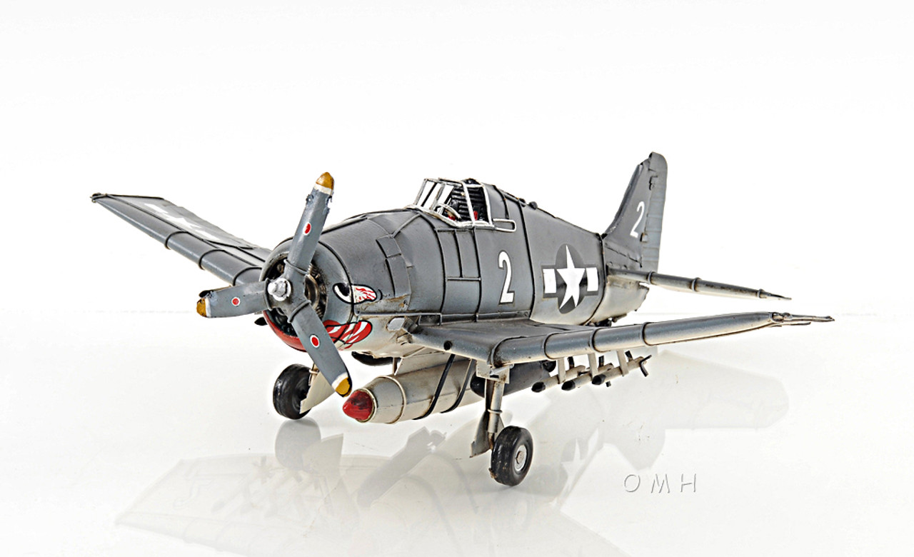 "Grumman F6F Hellcat Fighter Aircraft Metal Desk Model 12/"" WWII Airplane Decor"