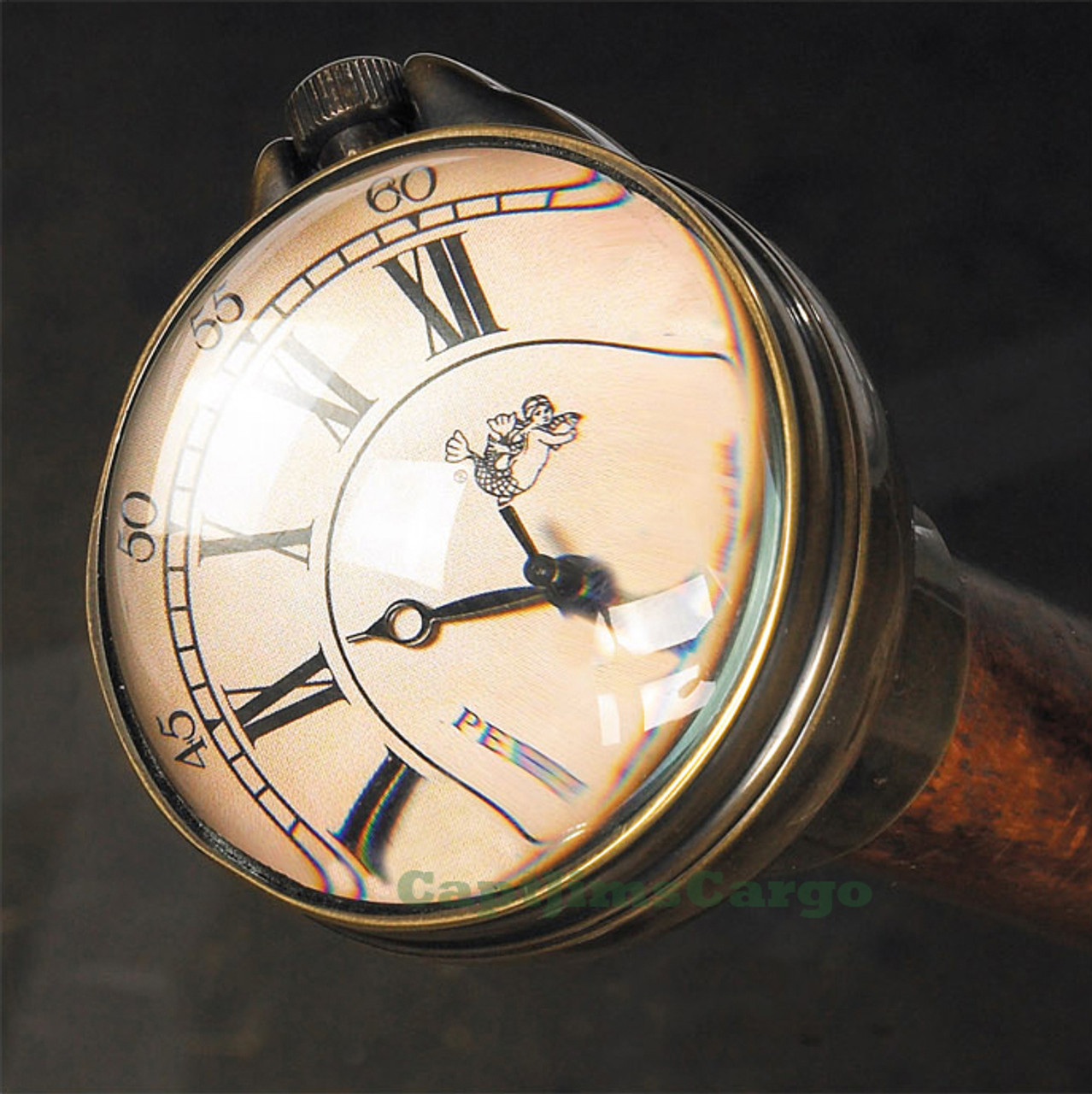 Time Companion Clock Walking Stick Wood Gentlemans Cane