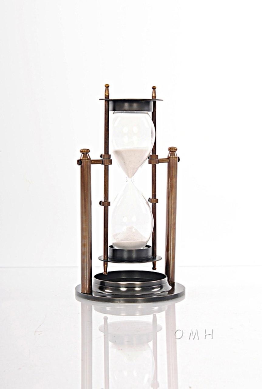 Brass Revolving Hourglass W Stand 8 5 Marine Sandglass Sand Timer Captjimscargo