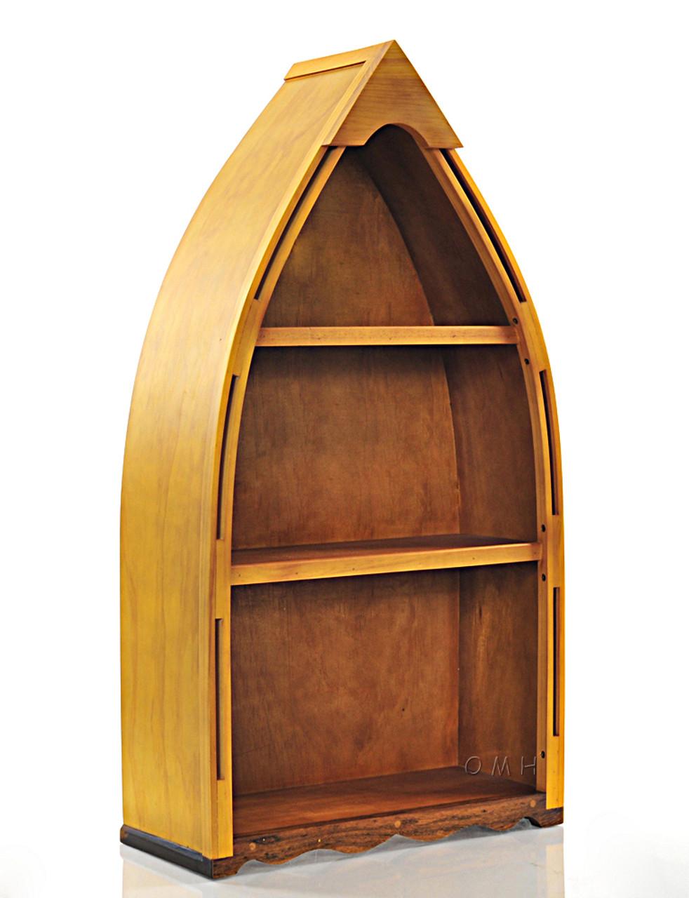 Small Row Boat Shaped Canoe Bookshelf Cedar