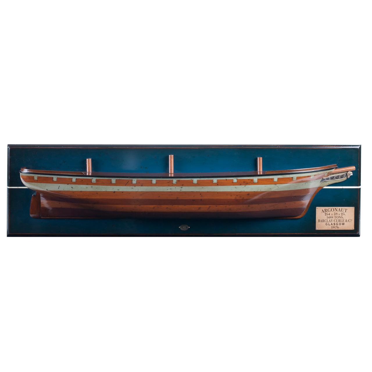 Argonaut 1876 Clipper Ship Wooden Half Hull Model