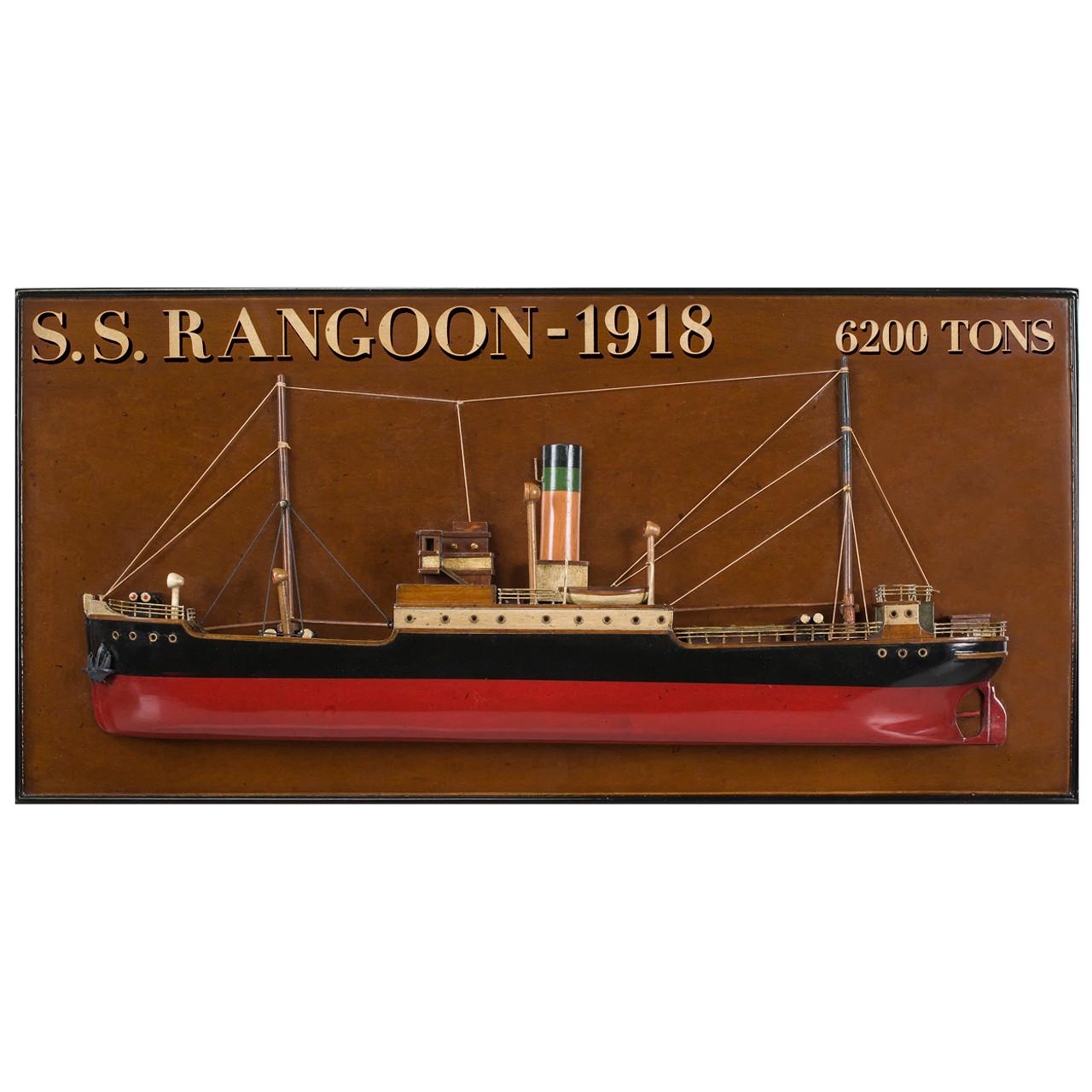 Rangoon 1918 Tramp Steamer Wooden Half Model
