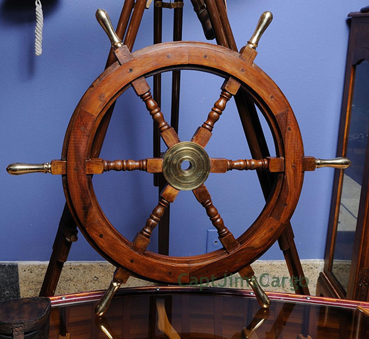 Teak Wood Boat Ships Wheel Brass Handles Hub