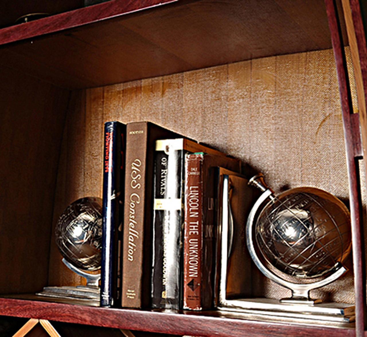 Chrome World Globe Aluminum Bookend Bookcase Decor
