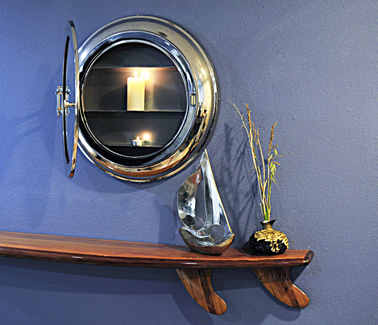 """Shallow Depth Medicine Cabinet Surface Wall Mounted Porthole Mirror 21"""""""