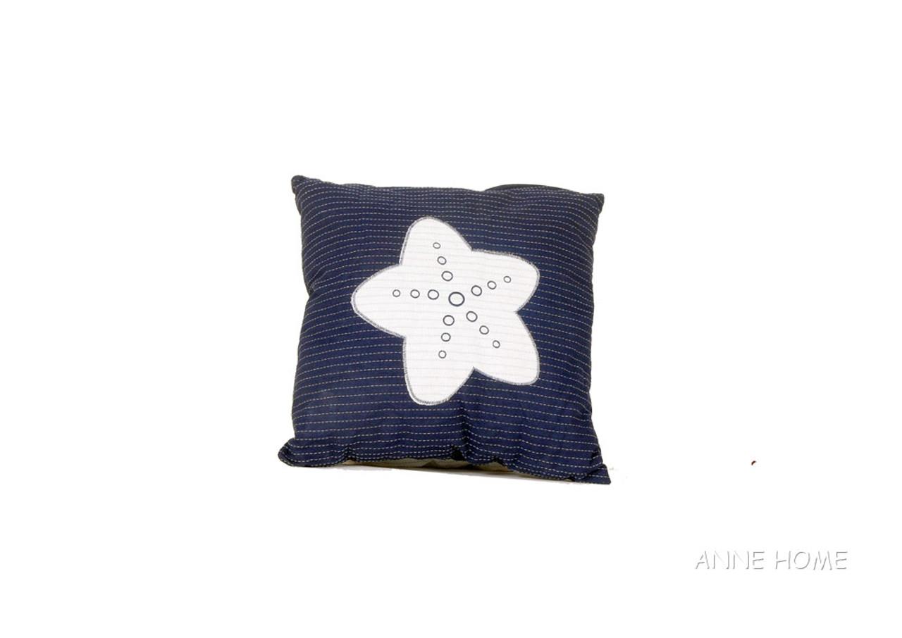 """Nautical Throw Pillow Navy Blue w/ White Starfish 16"""" Coastal Decor"""