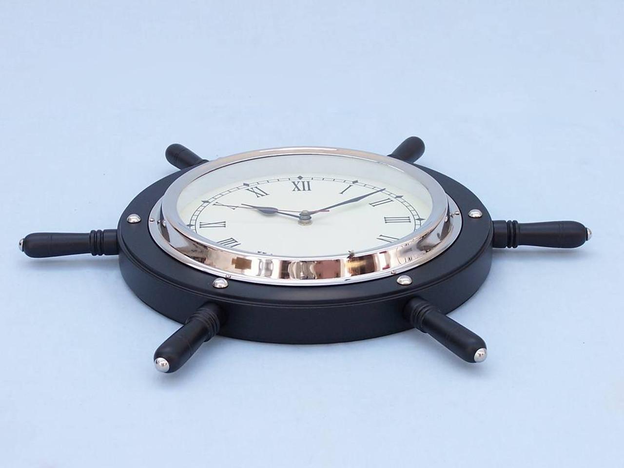 Pirate Ships Wooden Steering Wheel Black Chrome Clock
