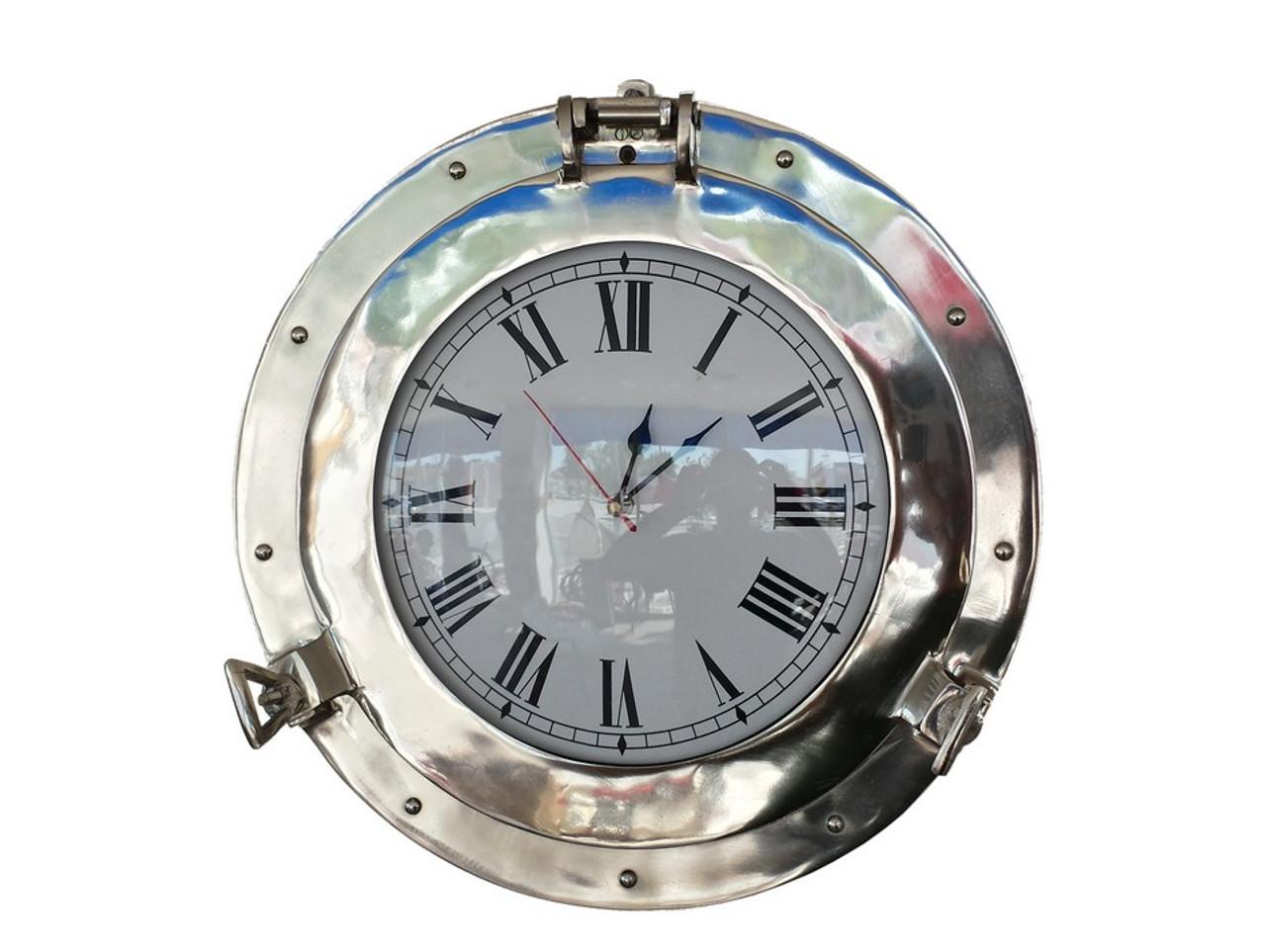 Ships Porthole Clock Chrome Nautical Hanging Wall Decor