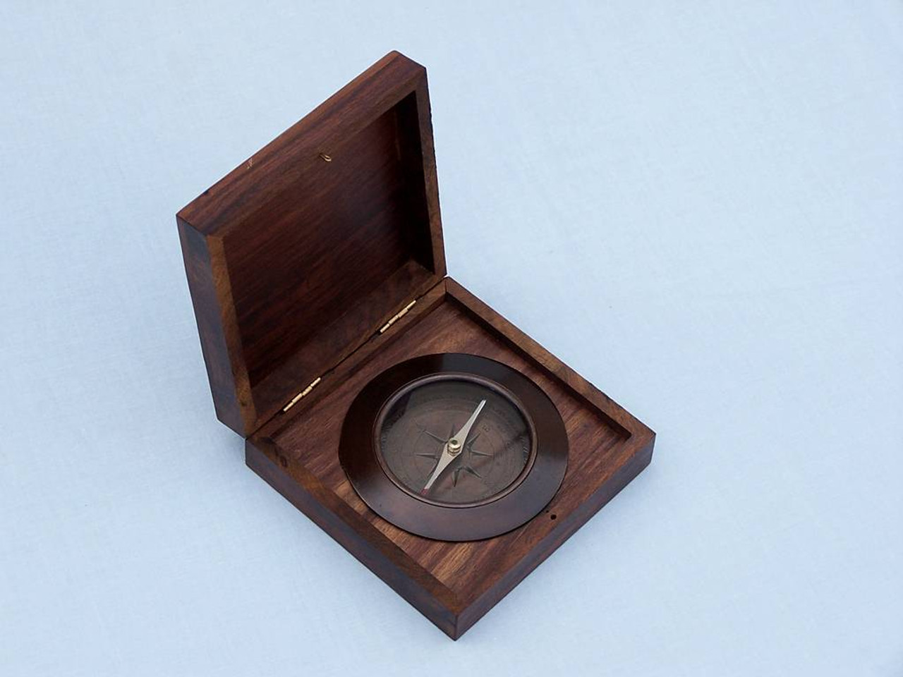 Admirals Compass Antique Copper Desktop Rosewood Case