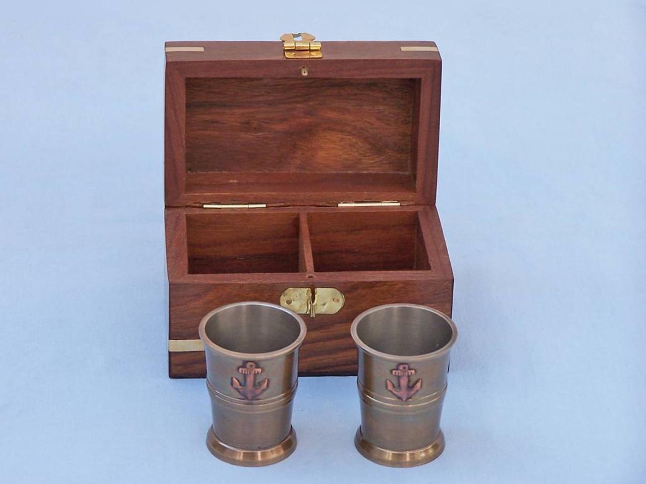 Anchor Shot Glasses Antique Brass Set of 2 Rosewood Case