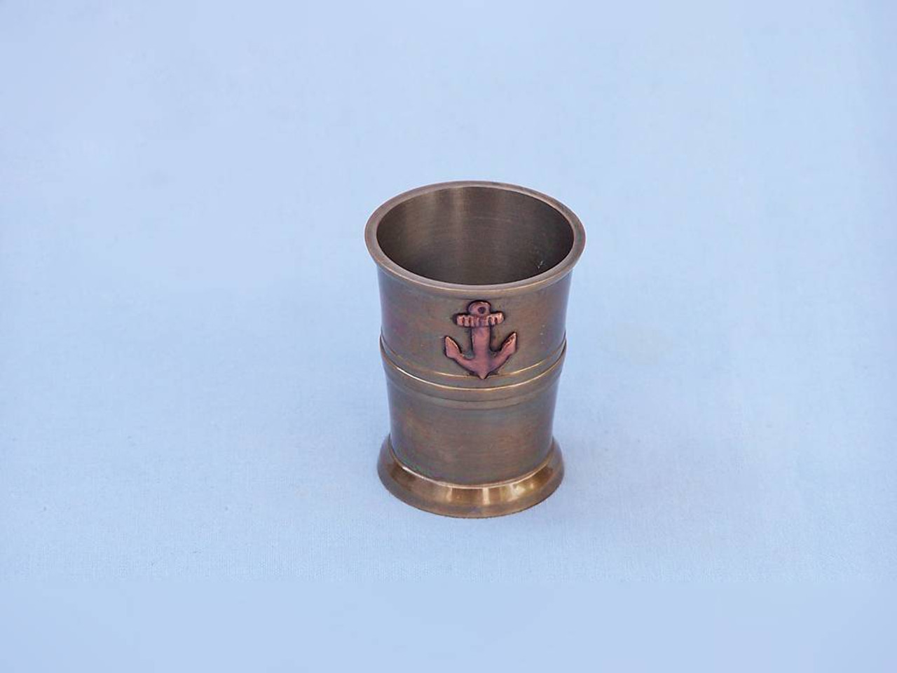 Anchor Shot Glasses Antique Brass Set of 6 Rosewood Case