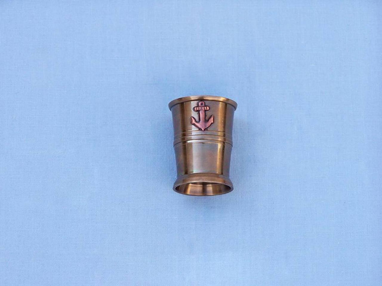 Anchor Shot Glasses Antique Brass Set of 6 Rosewood Case