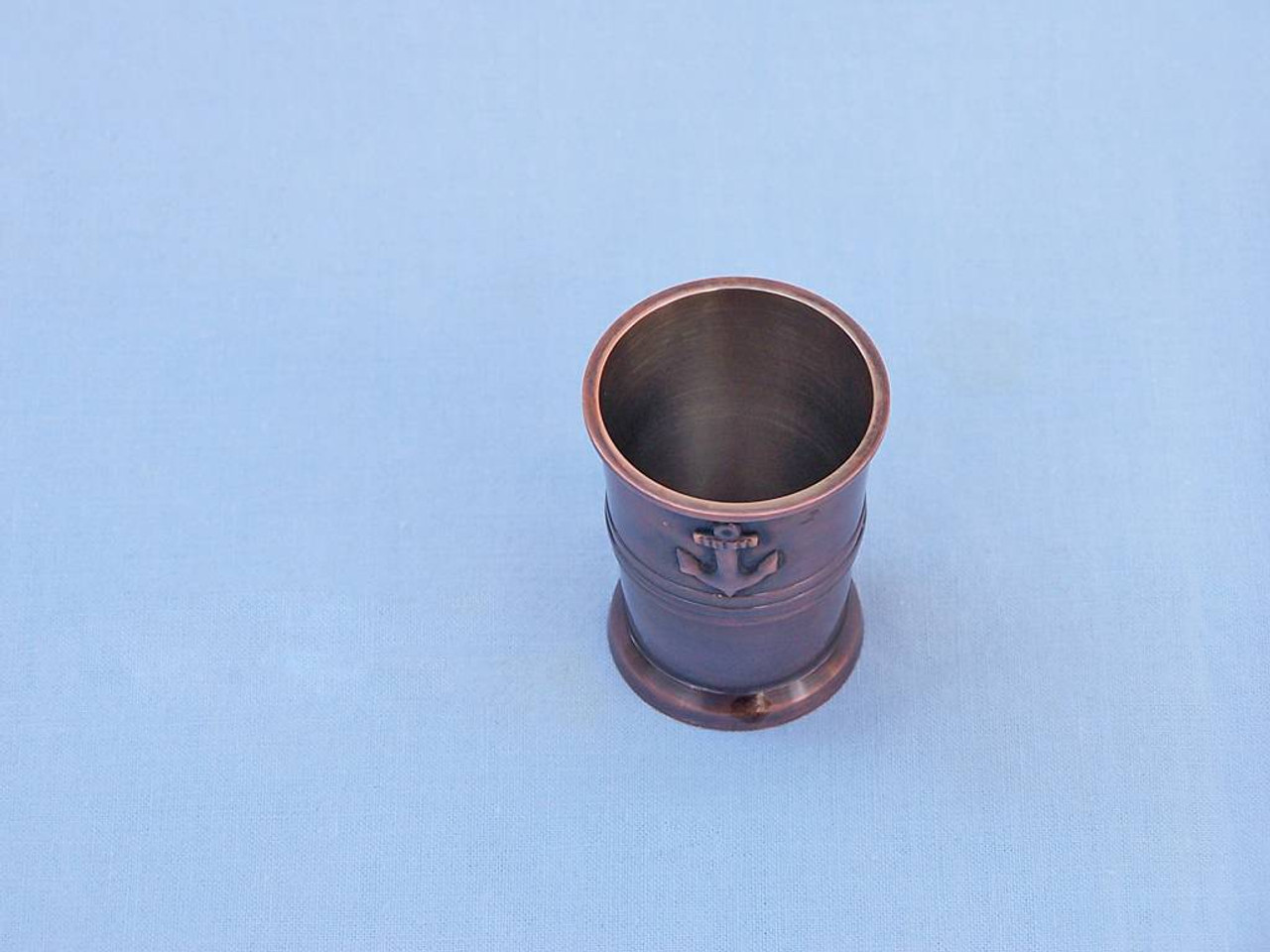 Anchor Shot Glasses Antique Copper Set of 6 Rosewood Case