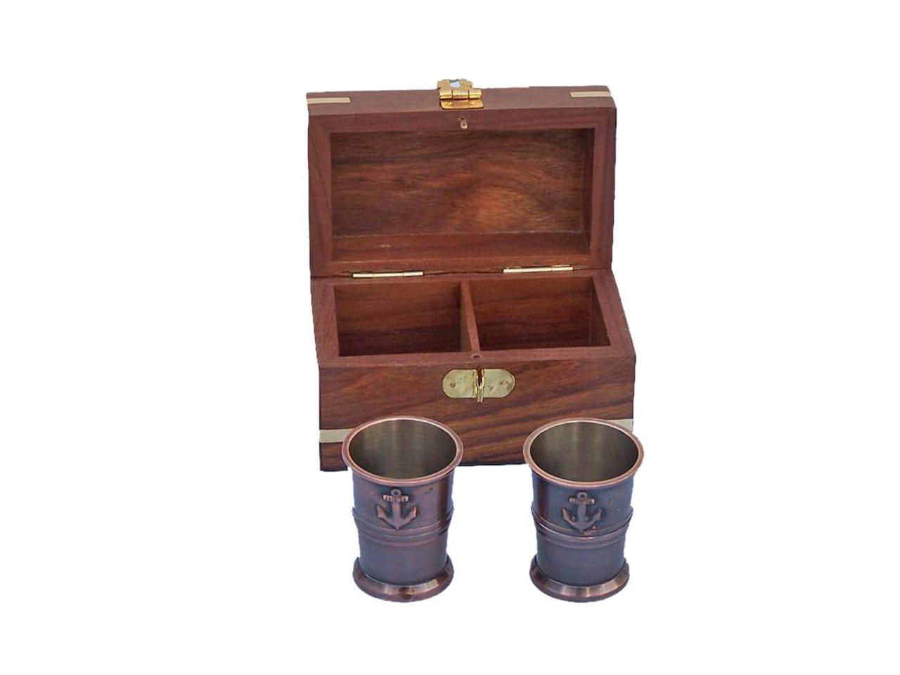 Anchor Shot Glasses Antique Copper Set of 2 Rosewood Case