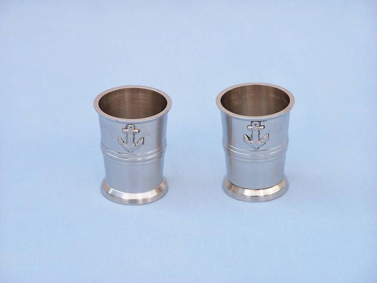 Anchor Shot Glasses Brushed Nickel Set of 2 Rosewood Case