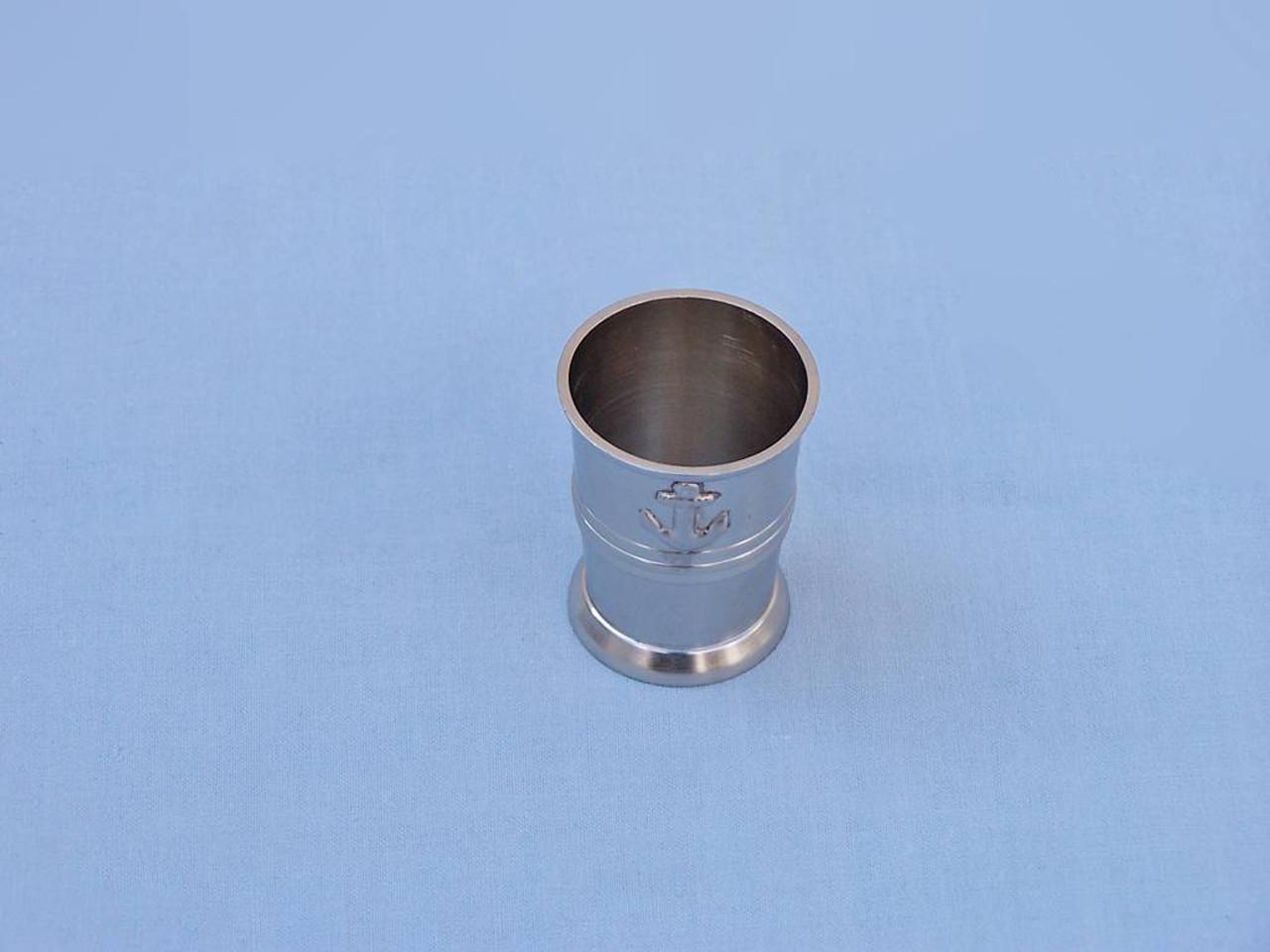 Anchor Shot Glasses Brushed Nickel Set of 6 Black Case