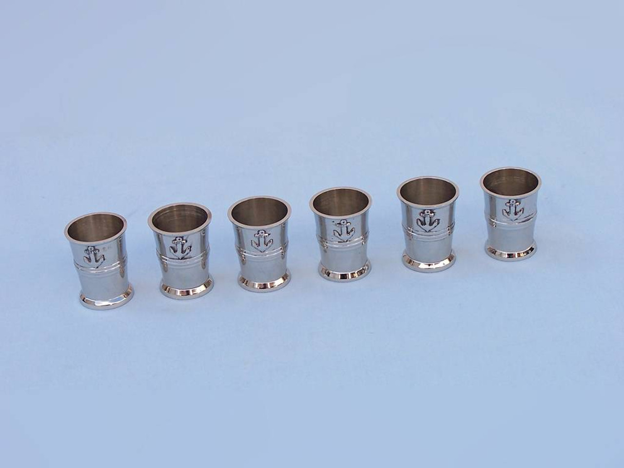 Anchor Shot Glasses Chrome Set of 6 Black Case