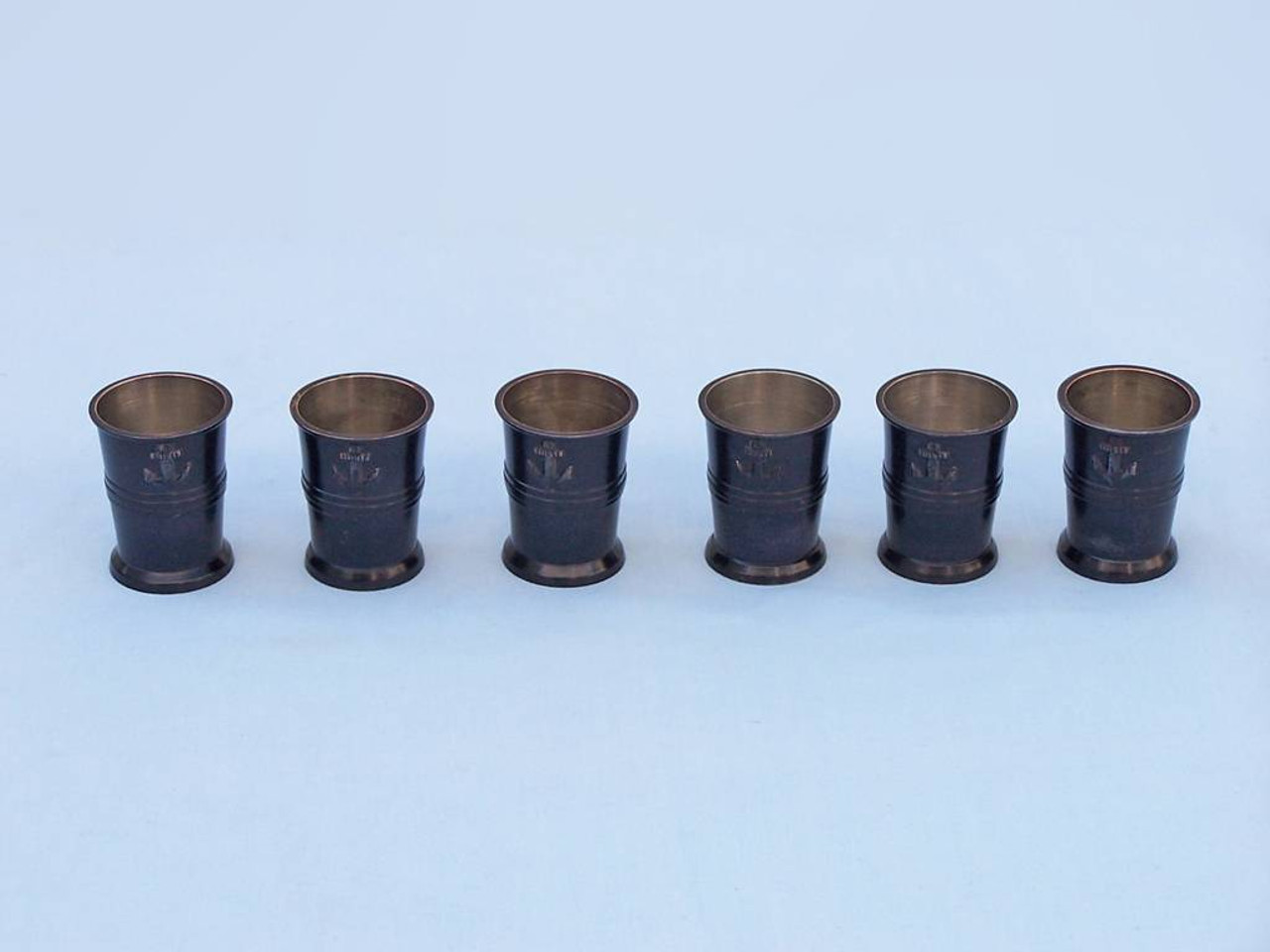 Anchor Shot Glasses Black Set of 6 Rosewood Case