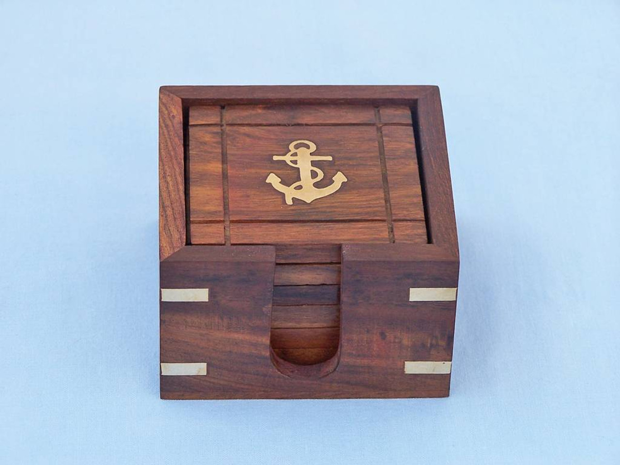 Brass Anchor Inlay Coasters Set of 6 Rosewood Holder