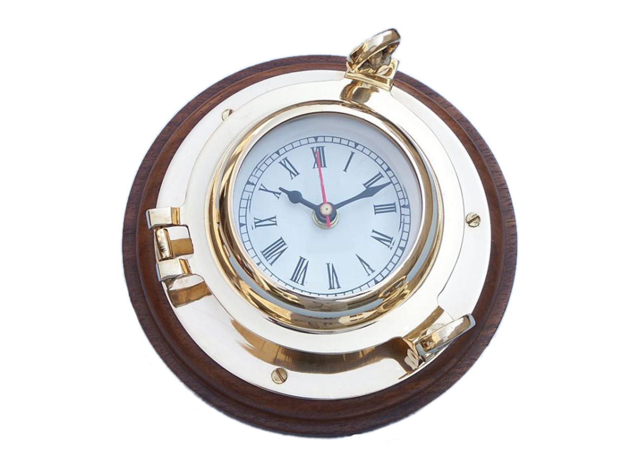 Ships Porthole Clock Solid Brass Wood Base